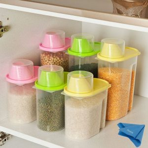 2pcs Rice Cereal Containers Storage Bpa Free Transpa Sealed Tank Food Cans Dumping Of Dried Fruit Snacks Flour Splenda Antibacterial
